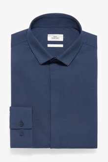 Next Textured Concealed Placket Shirt-Slim Fit Single Cuff - 266899