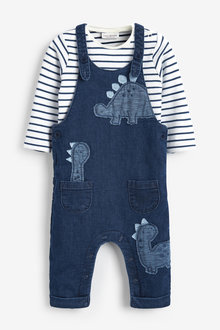 Next Denim Dinosaur Dungaree And Bodysuit Set (0mths-2yrs) - 266935