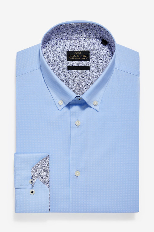 Next Trim Detail Stretch Signature Shirt-Slim Fit Single Cuff