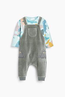 Next Super Soft Velour Dungaree And Bodysuit Set (0mths-2yrs) - 266960