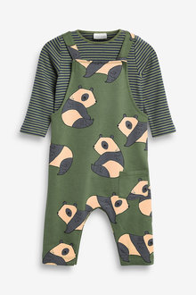 Next GOTS Organic Jersey Dungarees And Bodysuit Set (0mths-2yrs) - 266995