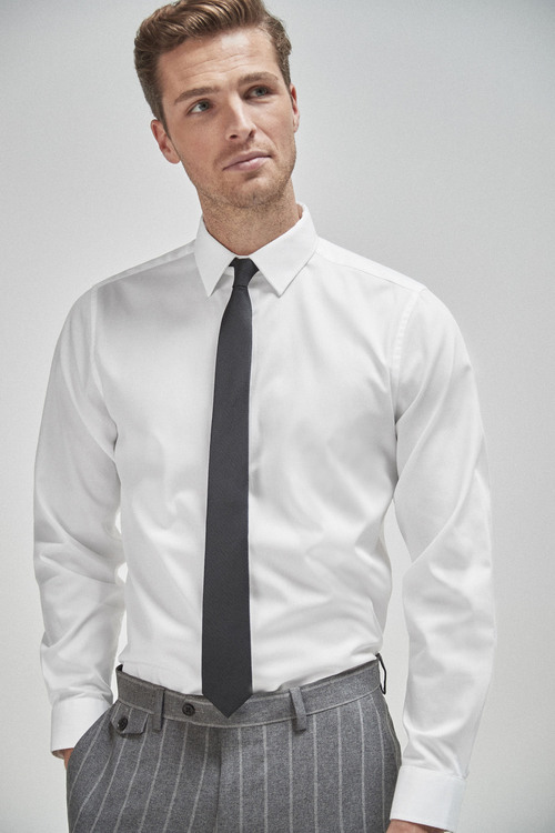 Next Shirt With Black Tie And Pocket Square-Slim Fit Single Cuff