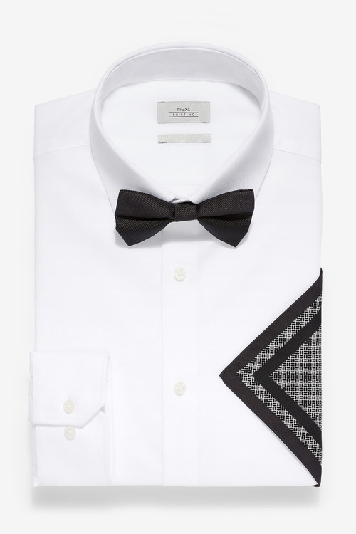 Next Wing Collar Shirt With Bow Tie And Pocket Square-Slim Fit Single