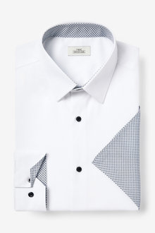 Next Contrast Trim Shirt And Pocket Square Set-Slim Fit Single Cuff - 267027
