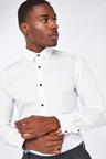 Next Contrast Trim Shirt And Pocket Square Set-Slim Fit Single Cuff