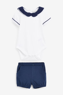 Next Smart Jersey Bodysuit And Shorts Set (0mths-2yrs) - 267030