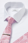 Next Shirt, Tie And Tie Clip With Pocket Square Set-Slim Fit Single Cuff