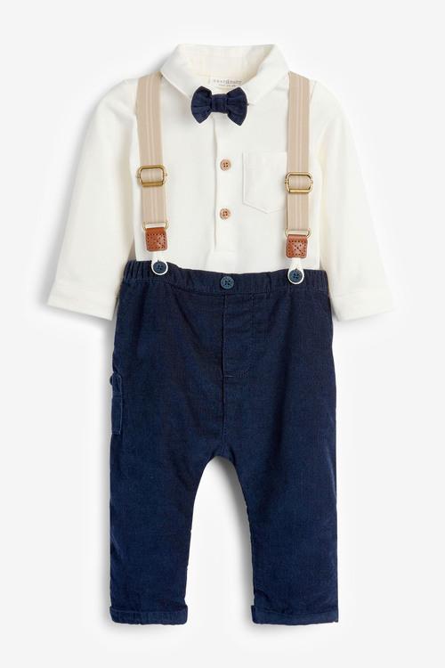 Next Smart Four Piece Shirt Body, Bow Tie, Trousers And Braces Set