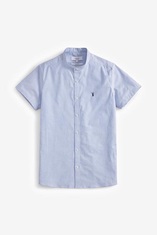 Next Short Sleeve Stretch Oxford Grandad Collar Shirt-Slim Fit