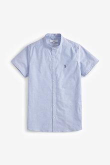 Next Short Sleeve Stretch Oxford Grandad Collar Shirt-Slim Fit - 267055