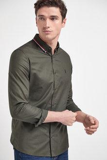 Next Stretch Oxford Tipped Collar Long Sleeve Shirt - 267075