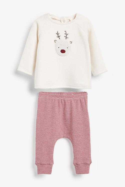 Next Cosy Reindeer Fleece Jumper And Leggings Set (0mths-2yrs)