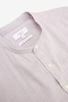 Next Linen Blend Puppytooth Grandad Collar Short Sleeve Shirt