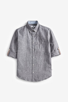 Next Linen Blend Roll Sleeve Shirt - 267134