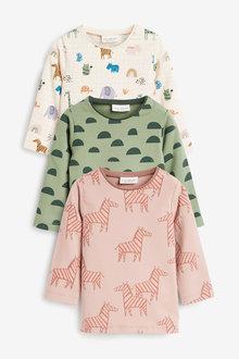 Next 3 Pack GOTs Organic Long Sleeve T-Shirts (0mths-3yrs) - 267171