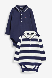 Next Two Pack Stripe Pique Polo Bodysuits (0mths-2yrs) - 267173
