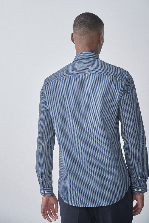 Next Geometric Print Double Collar Regular Fit Shirt