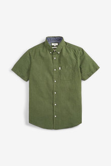 Next Textured Cross Linen Blend Shirt - 267203