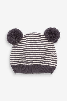 Next Knitted Stripe Hat With Double Pom (0mths-2yrs) - 267239
