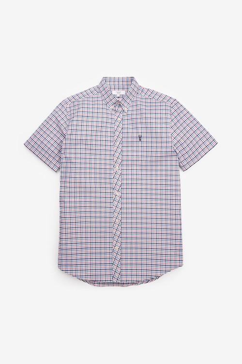 Next Gingham Short Sleeve Regular Fit Stretch Oxford Shirt