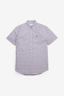 Next Gingham Short Sleeve Regular Fit Stretch Oxford Shirt - 267248