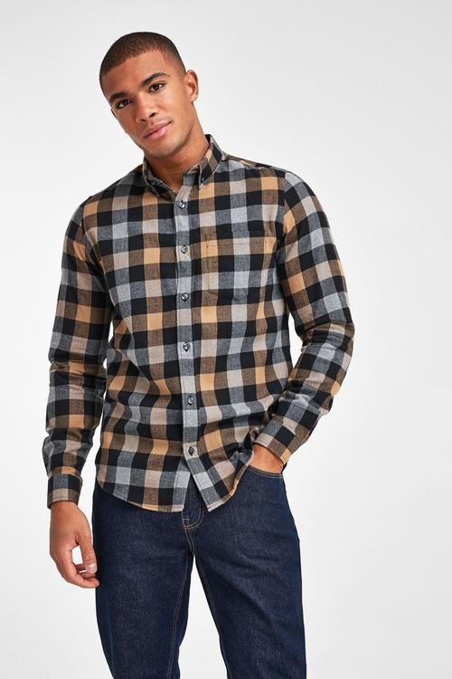 Next Buffalo Check Brushed Flannel Long Sleeve Shirt