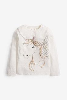 Next Sequin Unicorn Long Sleeve T-Shirt (3-16yrs) - 267290