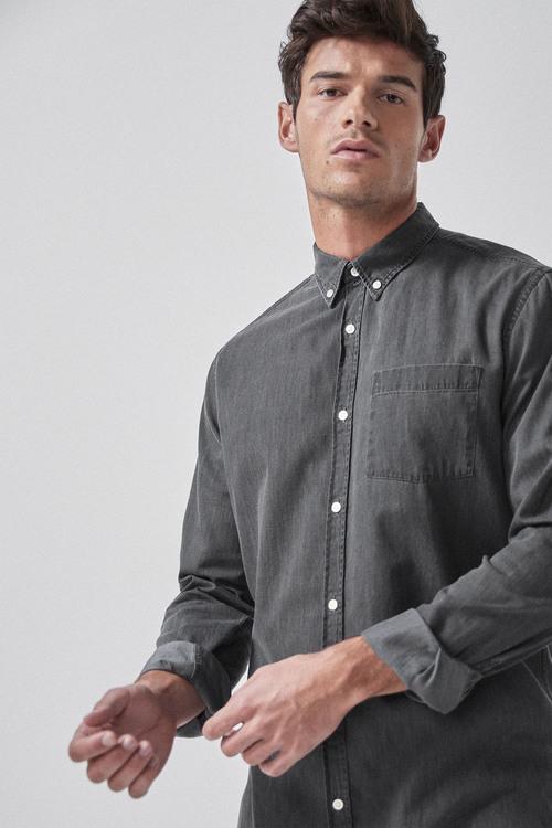 Next Slim Fit Denim Long Sleeve Shirt