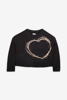 Next Sequin Long Sleeve Heart Top (3-16yrs) - 267292