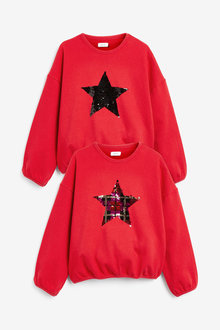 Next Check Sequin Star Long Sleeve Crew Neck Sweat Top (3-16yrs) - 267295