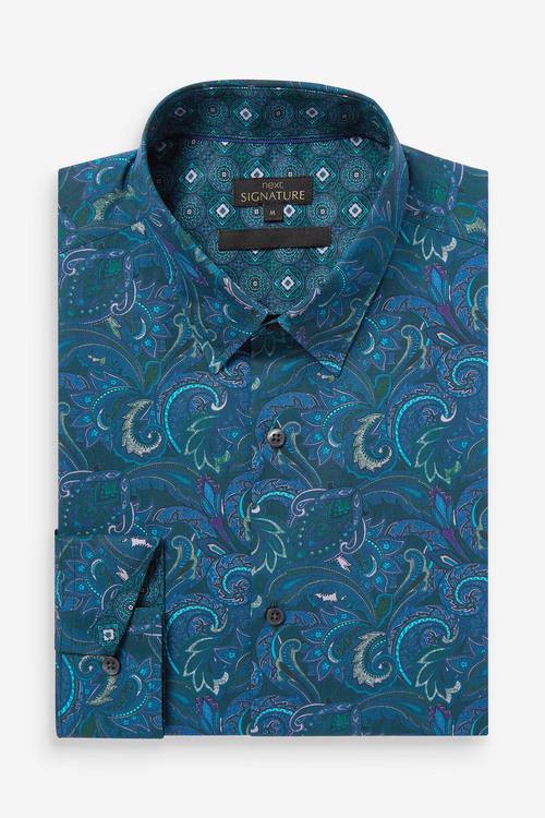 Next Paisley Print Long Sleeve Shirt-Regular Fit