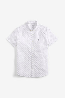 Next Print Slim Fit Short Sleeve Stretch Oxford Shirt - 267306