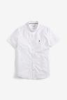 Next Print Slim Fit Short Sleeve Stretch Oxford Shirt