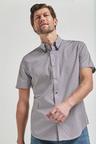 Next Double Collar Geo Print Short Sleeve Shirt