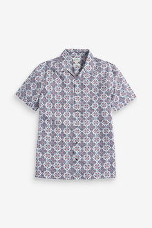 Next Print Short Sleeve Shirt-Slim Fit - 267314