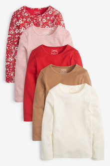 Next 5 Pack Red Ditsy Long Sleeve Ribbed T-Shirts (3-16yrs) - 267315