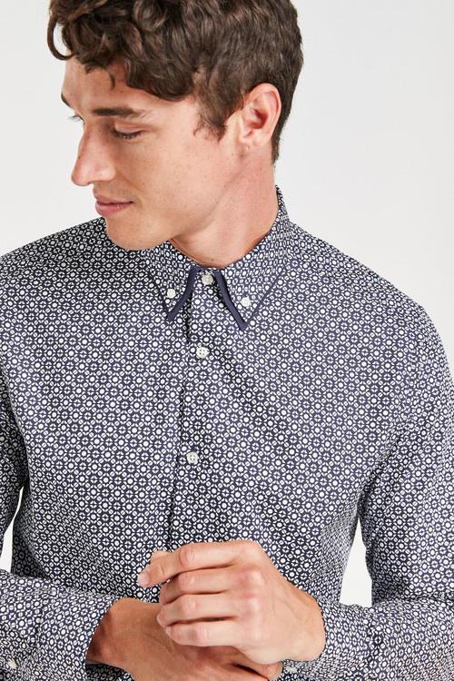 Next Geo Print Double Collar Shirt