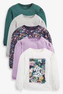 Next 5 Pack Floral Photographic T-Shirts (3-16yrs) - 267323