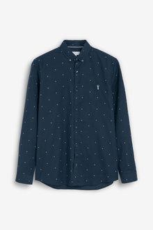 Next Print Long Sleeve Stretch Oxford Shirt - 267325