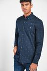 Next Print Long Sleeve Stretch Oxford Shirt