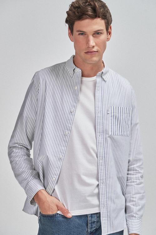 Next Slim Fit Stripe Mixed Long Sleeve Shirt