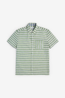 Next Stripe Linen Blend Short Sleeve Shirt - 267344