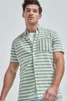 Next Stripe Linen Blend Short Sleeve Shirt
