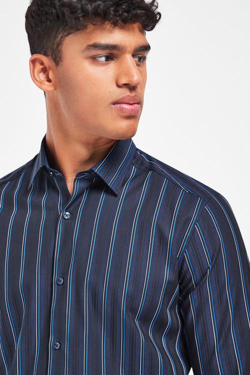 Next Jacquard Stripe Long Sleeve Shirt