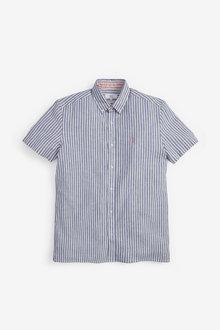 Next Linen Blend Short Sleeve Shirt - 267352