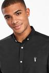 Next Long Sleeve Stretch Oxford Shirt-Skinny Fit