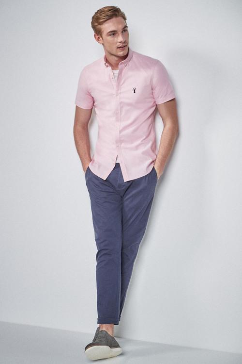 Next Short Sleeve Stretch Oxford Shirt-Skinny Fit