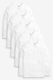 Next 5 Pack Long Sleeve Polo Shirts (3-16yrs) - 267465