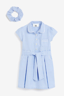 Next Gingham Bow Dress With Scrunchie (3-14yrs) - 267479