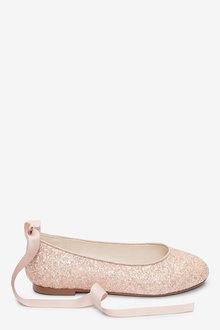 Next Glitter Tie Ballet Shoes (Older) - 267567